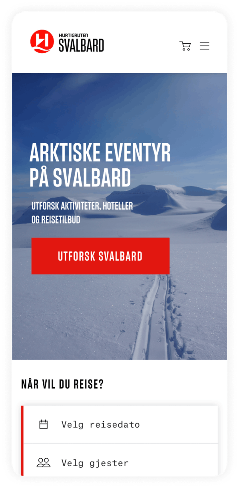 Hurtigruten Svalbard Front page Mobile